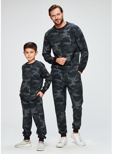 Dagi Erkek Çocuk Pike O Yaka Uzun Kollu Pijama Takımı Füme